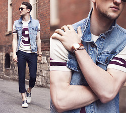 Marcel Floruss - Zerouv Sunnies, Tevin Vincent Bracelet, Topman Denim Vest, Topman Sweater, Topman Pants, Aldo Saddle Shoes - Top, Man!
