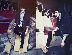 Florentin Glémarec - Cheap Monday Black Pants, H&M Denim Shirt, Levi's® Denim Jacket, Caterpilar Shoes - A new error