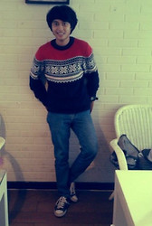 Mario Mps - Handmade Navajo Sweater, Wrangler Blue Denim, Converse Canvas Shoes - Warm in my navajo sweater