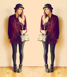 Blanche Clement - Mint Bowler Hat, Vintage Sparkle Shirt, Vintage Bag, American Apparel Disco Leggings, Minelli Boots - DISCO