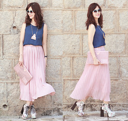 Mayo Wo - Chic Wish Candy Sunnies, Yesstyle Navy Tank Top, Ianywear Pink Maxi, Choies Floral Booties, Choies Catty Man Necklace - Catty & maxi