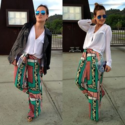 Tu Personal Shopper By Marta Antolinez - Zara Blouse, Zara Leather Jacket, Ray Ban Sunglasses, Zara Printed Pants, Bershka Pvc Clutch, Zara Sandals - New sunglasses!!!