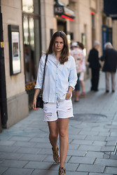 Caroline B - Zara Shirt, Zara Shorts, Chanel Bag, Givenchy Sandal - Light denim