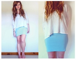 Savannah Zoë Thompson - New Look White Batwing Top, Forever 21 Pencil Skirt - In Muted Tones