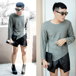 Karl Philip Leuterio - Trendphile Glasses, Beache Long Sleeves Top, Gold Dot Jersey Clutch, Messeca Boots - Birth.day