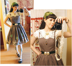 "Tyler H - Lily Of The Valley ""Forest Unicorn"" Dress, Vintage Lion Head Belt, My Own Work Green Velvet Belt, My Own Work Lily Of The Valley Embroidered Stockings, Outlet Mall Cream T Shirt, Naturalizer Low Brown Heels, My Own Work Brown Shoe Clips, Gift Vintage Velvet Leaf Hat, Antiques Store Pressed Flowers Brooch, Lily Of The Valley Acorn Necklace, My Own Work Fleur De Lis Bracelet, Ebay Vintage Lace Collar - Velvet Leaves"