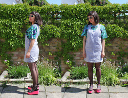 Cassy Bhairo - Illustrated People T Shirt, Vintage Pinafore Dress, Deena & Ozzy Perspex Platforms - Perspex & Swirls