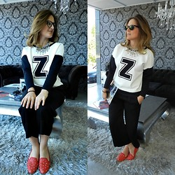 Tu Personal Shopper By Marta Antolinez - Zara Sweatshirt, Zara Pants, Zara Clutch Pvc, Blanco Studded Slippers, Zara Necklace - Sweatshirt!!!