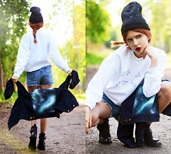 Ebba Zingmark - We Are Hairy People Denim Jacket, We Are Hairy People Sweater, We Are Hairy People Beanie, Tba Boots, 2hand Denim Shorts - We Are Hairy People