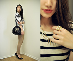 Ivy So - H&M Sweater, Ld Bag, Topshop Leggings, Tory Burch Flats, Topshop Ring, Marc By Jacobs Watch - Spikes and Stripes