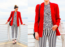 Kate M - Vintage Blazer, Forever 21 Dotted Shirt, H&M Striped Pants, Zara Sandals - Thiskidsnotalright