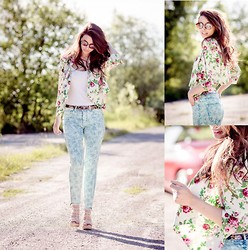 Nicol Rozwadowska - H&M Flower Jeans, Vero Moda Flower Jacked, Reserved Flower Belt - Summer flowers