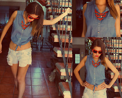 MariiFer Ponce - Denim T Shirt, Shorts, Red Heart Sunglasses - Denim + denim