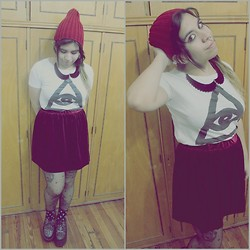 Cynthia † - Amen Diamonds Necklace, Ay Not Dead Tshirt, Velvet Skirt, Beanie - Makeshift Chemistry