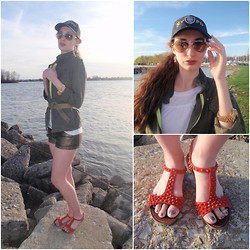 Pauline - Steve Madden Spiked Sandals, Forever 21 Gold Metallic Shorts - Army & Neon Green