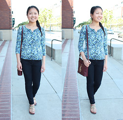 Linda Q. - Thrifted Cardigan, Gap Legging Jeans, Etienne Aigner Leather Crossbody, Katie & Kelly Sandals - FLORAL CARDIGAN