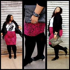 Jamila Pierre - Naught Coutre, Buffalo Exchange Skull Embossed Clutch, Marshalls Rivet Embelished Kitten Heels, Forever 21 Leopard Hot Pink Skirt, Grenade T Shirt, Burlington Coat Factory Black Waterfall Rivet Trimmed Blazer - Skulls, Leopard, andGrenades.