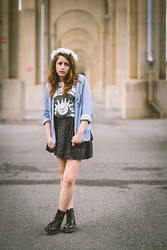 Alexis Nigro - Title Unknown La Lune Muscle Tee, Bdg Chambray Button Up, Forever 21 Mineral Wash Skater Skirt, Xsre Cross Hand Ring, Diy Flower Crown, Doc Marten 1460 Boots - La Lune, Le Soleil.