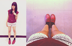 Erika R. - Dr. Martens Oxblood 1461 Vintage, H&M Aztec Print Shorts, H&M Oxblood Muscle Shirt - Oxblood Most Likely