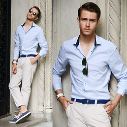 Adam Gallagher - Shirtsimilar Here  >, Clubmaster, Men In Cities Braided Belt, Similar Here  > Chinos, Vans Surf Shoes - Nude blue