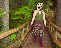 "W Weiss - Rue 21 Corduroy Beige Bolero, Thrifted White Short Sleeved Shirt, Thrifted Wooden Leaf Necklace, It's About Time Green Knit Vest, Thrifted Brown Floral Lace Skirt, Target Teal Stockings, Route 66 Burgundy Slouch Calf Boots - ""They have a c̶a̶v̶e̶ LOOKBOOK troll."""