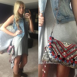 Lauren (s u m m e r) - Ecote Moroccan Treasures Crossbody Bag, Forever 21 High Low Grey Dress, Old Navy Bue Denim Vest - Mirror Mirror