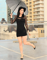 Kelly Nicole - Cotton On Black Hat, Evolution Black Mesh Dress, Ali Express New Heels - Caught out there. #OnlyDifferentKindsOfGoodWeather