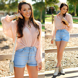 Jessica R. - Cheap Monday Short Skin Shorts, Nasty Gal Bone Studded Booties, Similar Pink Blouse, Meredith Hahn Starfish Necklace - Blushing Periwinkle