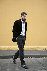 Jared Acquaro - Richard James Velvet Blazer, Oscar Hunt Twill Shirt, Oscar Hunt Trouser, Loake Oxford Shoe - Simple Dinner