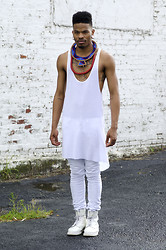 Marcus Branch - Oak Side Cowl Tank, Kill City White Skinny, Dr. Martens Monochromatic, Maasai Ring Necklace - Chroma