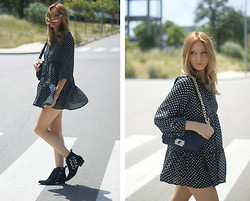 Estefania Ainoza - Romwe Dress, Zara Boots - Dots mini dress