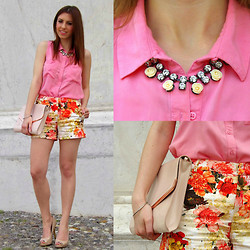 TheSparklingCinnamon F.M. - H&M Roses Necklace, H&M Pink Blouse, Zara Floral Shorts, H&M Nude Clutch, Primark Nude Pumps - Candy Flowers