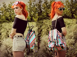 Heather C - Daisystreet Top, La Moda Striped Rucksack - Queen Of The Gas Station