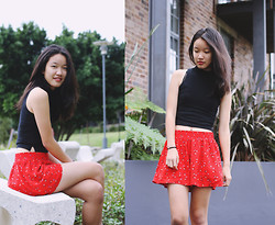 Shanni Sun - Topshop Polo Neck Crop Top, Thrifted Shorts - WE LIFTED THIS HOUSE
