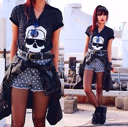Bernadette F - Peak Shape Round Sunglass, Skull T Shirt, Riveted Camouflage Shirt, Faded Cross Shorts, Fishnet Stocking, Creepers - IF YOU'RE LUCKY ENOUGH TO BE DIFFERENT, DON'T EVER CHANGE.