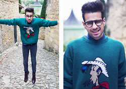 Pierre Caillou - Garett Leight Glasses, Charity Store Shirt, My Mum Made It Vintage Sweater, Cheap Monday Skinny, H&M Red Cherry Boots - Lucky man