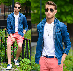 Adam Gallagher - Gap Shorts, Similar Here  > Denim Shirt, White V Neck, Aviators, Similar Here  > Braided Belt, Tommy Hilfiger Oxfords, Giles And Brother Railroad Spike Bracelet - Breeezy