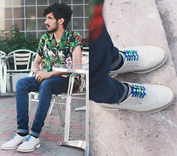 Mohcine Aoki - Obsession4fashion Tropical Shirt, Cheap Monday, Zara, Hickies Blue & Green - Tropical love / Instagram : #Mxhcineaxki