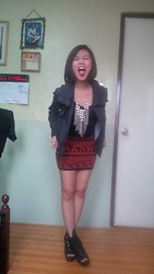 Joy Wilgin O. - Mango Black Denim Studded Jacket, Buckled Booties, Aztec Bandage Skirt - Blah!