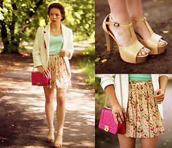 Wioletta Mary Kate - Persun Bag, Awwdore Skirt, Sheinside Blazer, Chicnova Shoes - Summer Delicate Set