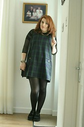 Jodie Marie Davey - Mod Dolly Dress, Fashion Union Sheer Top, Camden Market Creepers, Primark Satchel, Gogo Philip Necklace - Relaxed tartan.