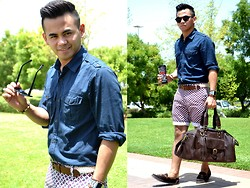 Paul Ramos - H&M Round Sunnies, H&M Eapulette Shirt, Iconic Pattern Shorts, Iconic Leather Duffle Bag, Max Store Braided Belt, Ek Shoes Tazzle Loafers - A Bright Sunny Day