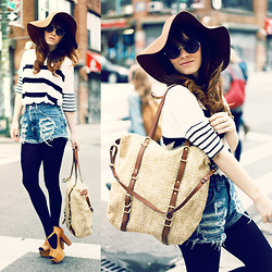 Rachel-Marie Iwanyszyn - Floppy Hat, Gap Striped Shirt, Shredded Shorts, Jeffrey Campbell Foxy Platforms, Gap Straw Bag - STRIPES IN THE CITY.