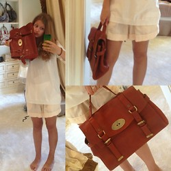 Catherine Var - Mulberry School Bag, Zara Pink Shiffon Shorts, Mango White Sweater - Just white and brown