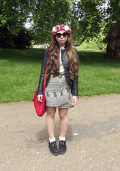 Talia Florence - Vintage Silk Wrap Skirt, Zara Leather Jacket, Underground Creepers, Topshop Socks, Topshop Red Leather Bag, Timberland Shirt - You think you're moving but you're going nowhere