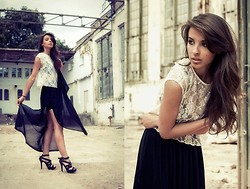 Nicol Rozwadowska - Top, H&M Long Skirt, Dkny High Heels -  Fashion factory