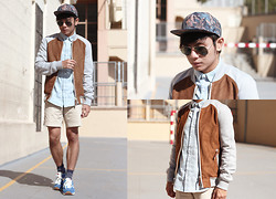 Miko Carreon - Topman Button Down, Topman Snapback, Topman Shorts, Topman Socks, Zara Jacket - Breezy Brown