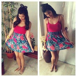 Erika Aguilar - Candies Pink Tank Top, H&M Floral Skirt, Parisian Baby Pink Ballet Flats - What a Girl Want!