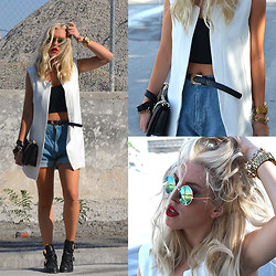 Dena T. - Sheinside White Sleeveless Shoulder Pads Blazers, Chicnova Retro Oversized High Waist Denim Shorts With Waistband, Choies Metal Clasp And Hollow Round Toe Shoes, Choies Green Round Lens Sunglasses With Metal Frame - CROP TOP & LONG VEST
