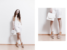 Tatiana K - From Korea Top, Vintage Denim Shorts, From Korea Bag, H&M Shoes - White summer